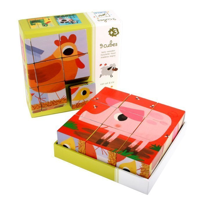 PiouPiou & Cie Wooden Cubes by Djeco
