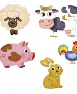 5 Wooden Puzzles (3-8pcs) - Farm