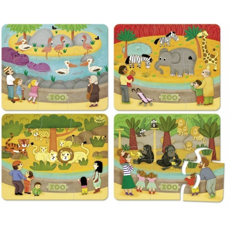 4 Wooden Puzzles (6pcs) - The Zoo